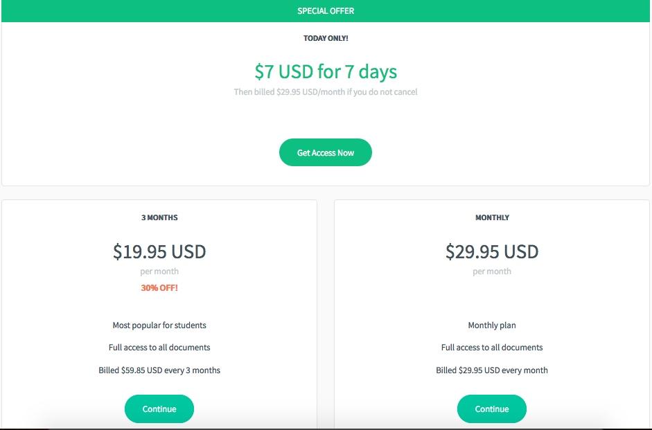 bartleby.com pricing